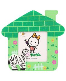Zebra Motif Wooden Photo Frame House Shape - Green