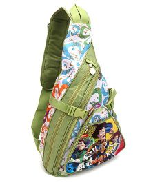 Toy Story Cartoon Print Body Strap Sling Bag - Green