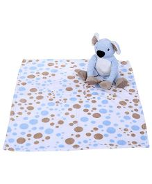 Piccolo Bambino Coral Blanket With Toy Koala - Blue