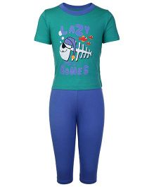 Kanvin Half Sleeves T-Shirt And Legging Lazy Bones Print - Green And Blue