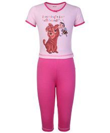 Kanvin Half Sleeves T-Shirt And Legging Honey Bee Print - Pink