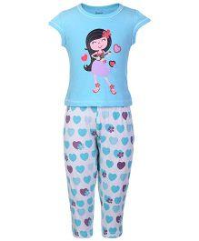Kanvin Short Sleeves T-Shirt And Legging Hearts Print - Blue
