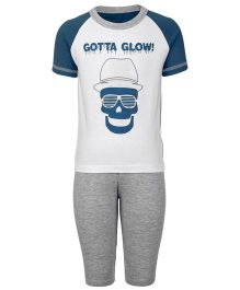 Kanvin Half Sleeves T-Shirt And Legging Gotta Glow Print - White And Grey