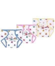 Babyhug Velcro Closure Nappy Mini - Blue Pink And Yellow