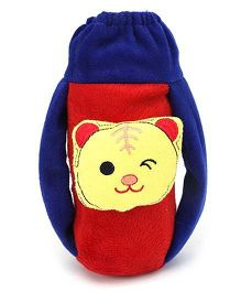 Babyhug Plush Bottle Cover Baby Tiger Face Medium - Blue And Red