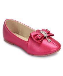 Cute Walk Party Wear Belly Shoes Studded Bow Motif - Pink