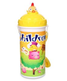 Sipper Water Bottle Children Print 700 ml - Yellow And White