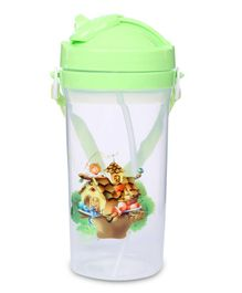 Sipper Bottle House Print Green - 450 ml