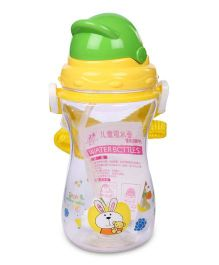 Sipper Water Bottle Rabbit And Teddy Print Green And Yellow - 400 ml