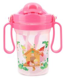 Water Bottle House Print Pink - 300 ml