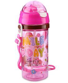 Water Bottle Smile Day Print 450 ml - Pink