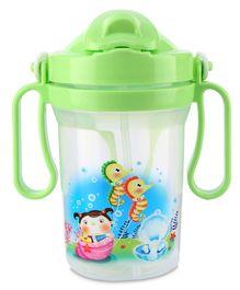 Water Bottle Sea Horse Print 300 ml - Green
