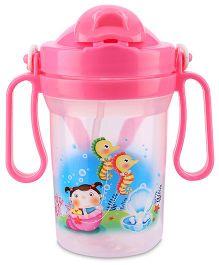 Water Bottle Sea Horse Print 300 ml - Pink