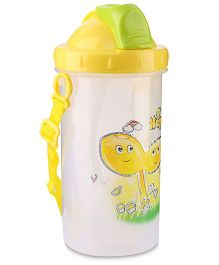 Water Bottle Happy Print Green And Yellow - 500 ml