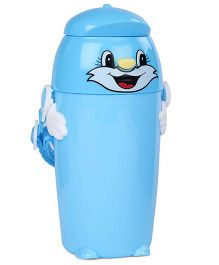 Water Bottle Cat Face Print 450 ml - Blue