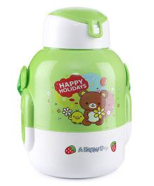 Sipper Water Bottle Teddy And Holiday Print 480 ml - Green And White