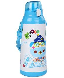 Life Print Push Button Water Bottle Blue - 750 ml