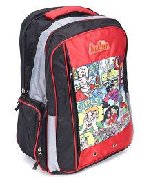 Archie School Bag 17 Inches - Red And Black