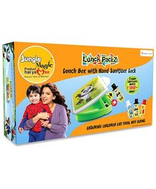 Jungle Magic Gift Pack Of Lunch Box And Hand Sanitizer Pandy Print - Green