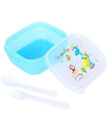Lunch Box With Friendship And Giraffe Print - Blue