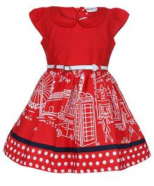 Peppermint Peter Pan Collar Frock With Belt - Red