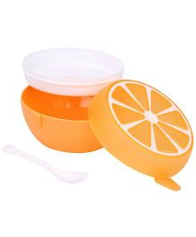Round Shape Lunch Box With Spoon - Orange