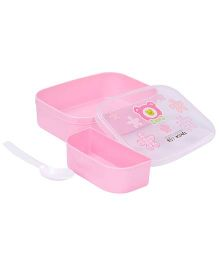 Lunch Box With Spoon Teddy Design - Pink