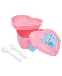 Lunch Box With Spoon And Fork Heart Shape - Pink