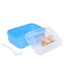 Lunch Box With Spoon Teddy Print - Blue