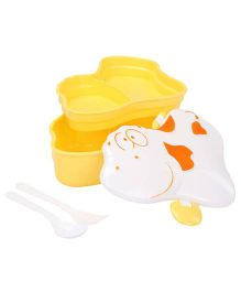 Cow Shaped Lunch Box With Spoon And Fork - Yellow And White