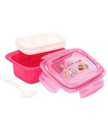 Lunch Box With Spoon Rabbit Print - Pink