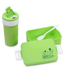 Lunch Box Sipper Water Bottle And Spoon Set 500 ml - Green