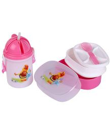 Lunch Box Sipper Water Bottle And Spoon Set - Pink