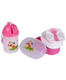 Lunch Box Sipper Water Bottle And Spoon Set Duck Print - Pink