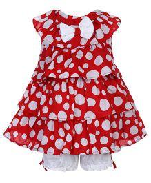 Nauti Nati Frock Style Top And Shorts Polka Dot Print - Red