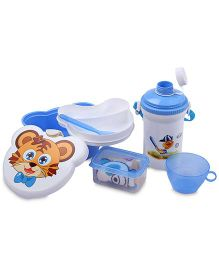 Lunch Box Set Tiger And Baseball Print - White And Blue