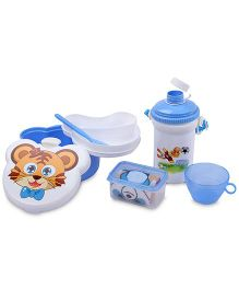 Lunch Box Set Tiger And Football Print - White And Blue