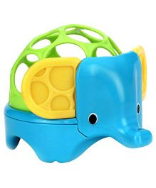 Bright Starts Oball Rollie Rattles Elephant Shape - Blue And Green
