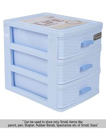 Multipurpose 3 Compartments Plastic Cabinet Drawers - Blue