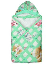 Tiny Care Hooded Wrapper - Light Green Flower print
