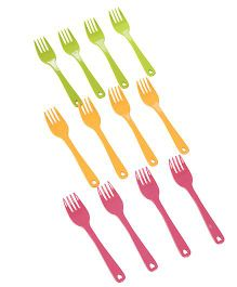 Set of Forks Green Yellow Pink - 12 Piece