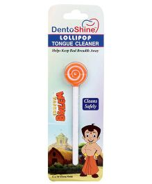 Dentioshine Chhota Bheem Lollipop Tongue Cleaner - Orange And White