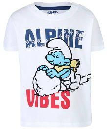 Smurfs Half Sleeves T-Shirt Alpine Vibes Print - White