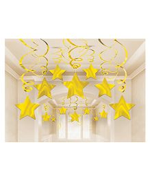 Wanna Party Golden Star Swirl Decoration - Pack of 15