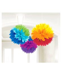 Wanna Party Fluffy Decoration Multicolour - 3 Count