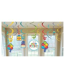 Wanna Party Birthday Fever Swril Decoration - 12 Count