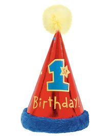 Wanna Party 1st Birthday Cone Hat With Faux Fur
