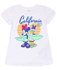 Fox Half Sleeves T-Shirt Minnie Mouse And Daisy Duck Print - White