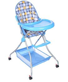 High Chair With Storage Basket Checks Print - Blue And Orange