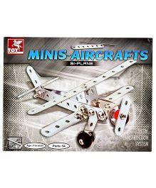 Toy Kraft Mini Aircrafts Twin Props Bi-Plane - Silver